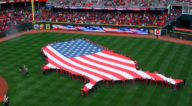 American Flag at Opening Day